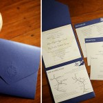 Compass monogram on midnight blue wedding invite