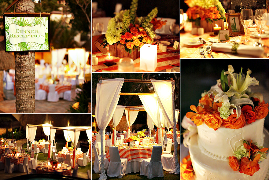 Orange and green boracay reception weddings in the philippines palm junglespirit Gallery