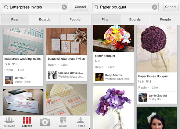 Browse Pinterest using the ios app
