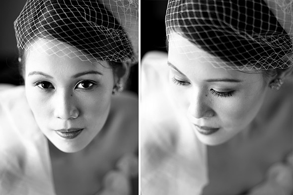 Bride wears a birdcage veil