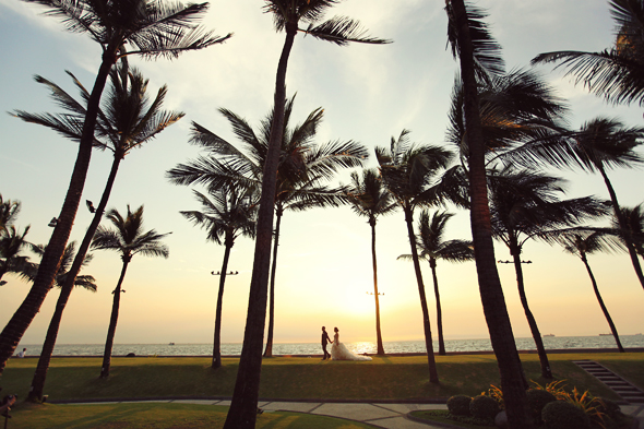 Sunset, Palm Trees, Manila Bay, Wedding