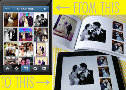 Turn Instagram photographs to an iPad photo album and a printed wedding photobook.